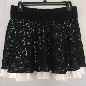 Layered Lace Floral Ruffle Skirt